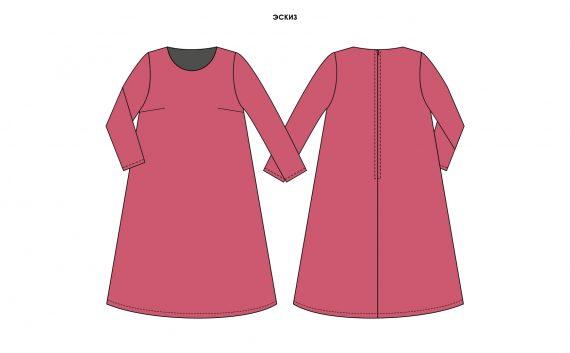 Платье зимнее трапециевидное для промо